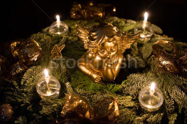 美しい 出現 花輪 天使 暗い ストックフォト © franky242