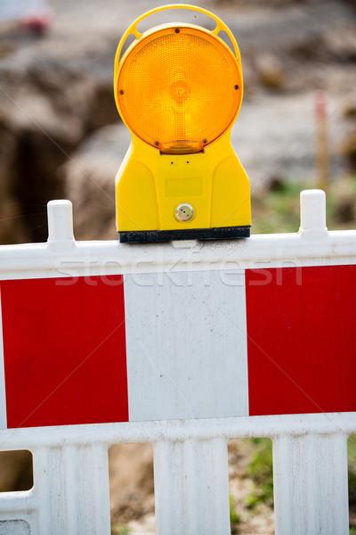 Gelb Signal Lampe Baustelle Warnung Gebäude Stock foto © franky242