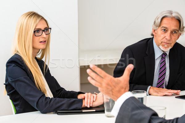 Misto grupo reunião de negócios bloco de notas água Foto stock © franky242