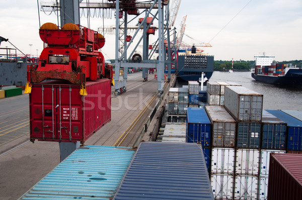 Stockfoto: Containerschip · groot · vracht · kraan · haven · business