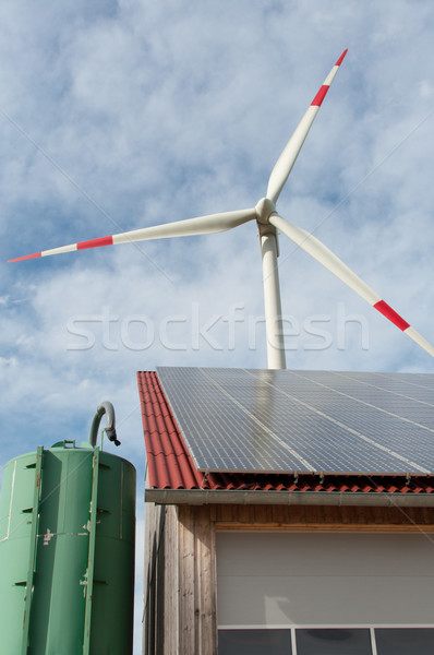 Megújuló energia csőr fedett napelemek szélturbina technológia Stock fotó © franky242