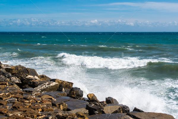 Ondas rochas praia spray céu natureza Foto stock © franky242