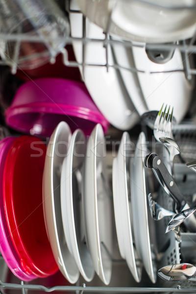 Lavavajillas limpieza proceso superficial placas Foto stock © franky242