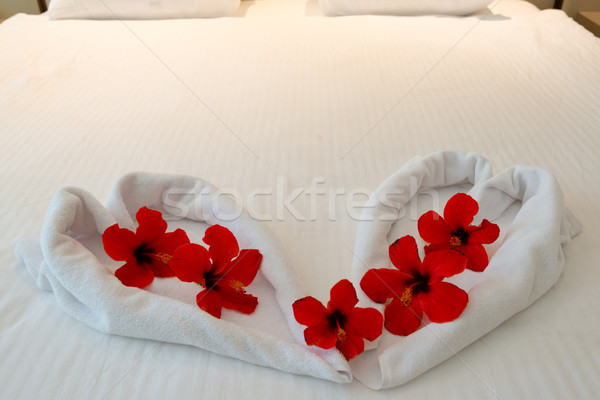 heart made from towels on honeymoon bed Stock photo © franky242