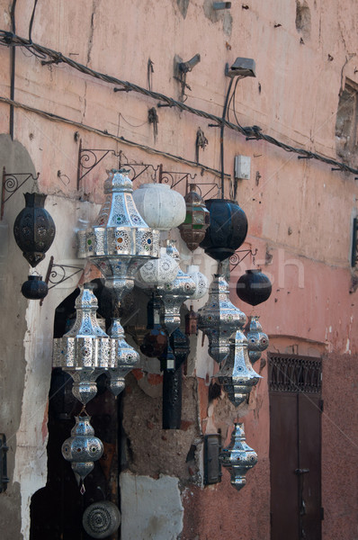 Metal lamps in Moroccan market Stock photo © franky242