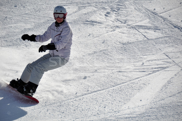 Kadın toz kar orta yaşlı Stok fotoğraf © franky242