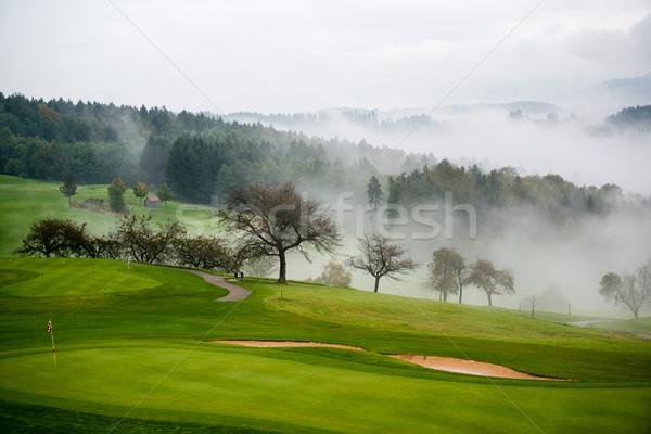 Outono campo de golfe névoa nascer do sol céu grama Foto stock © franky242