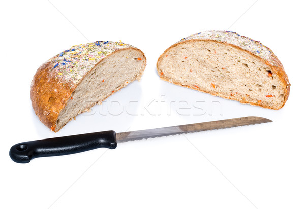 Two half loafs of bread with knife Stock photo © franky242