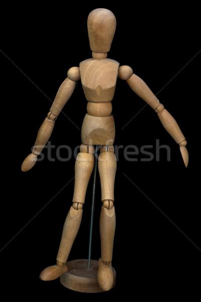 Pose fantoche suporte preto madeira Foto stock © franky242