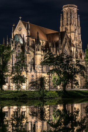 Johanneskirche Stuttgart Feuersee at night Stock photo © franky242