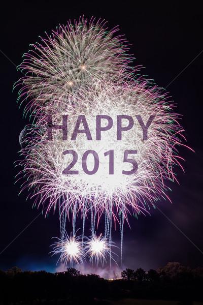 Foto stock: Feliz · ano · novo · 2015 · fogos · de · artifício · colorido · palavras · feliz