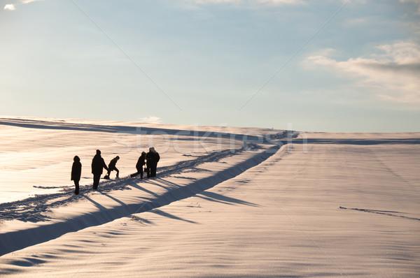Walking in powder snow Stock photo © franky242