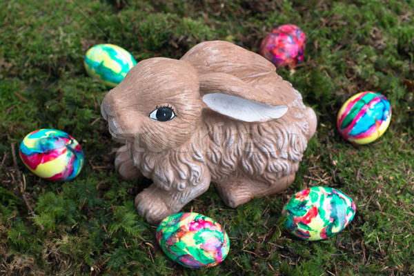 Easter Decoration: Painted Eggs and Rabbit on Moss Stock photo © franky242