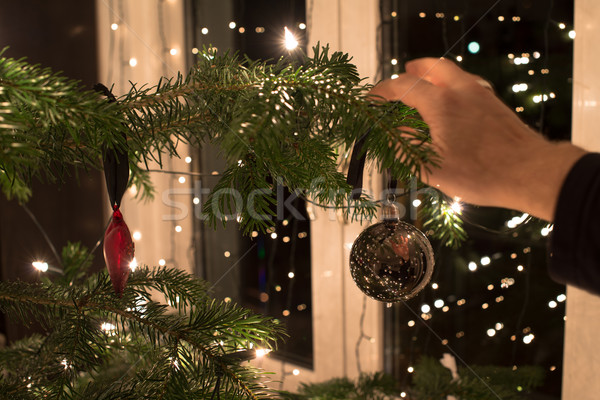 Arbre de noël jeune homme noël décoration vert Photo stock © franky242