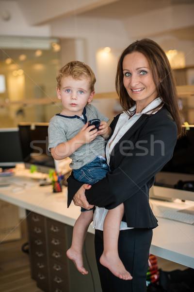 Kobieta interesu mały dziecko biuro pojednanie rodziny Zdjęcia stock © franky242
