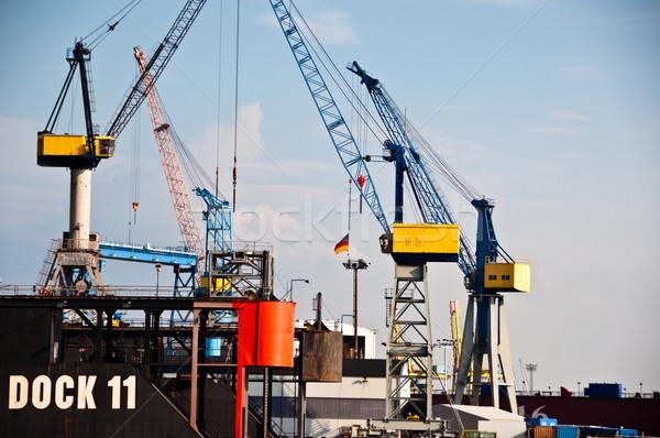 Massive Dry-Dock in Hamburg Harbor, Germany Stock photo © franky242