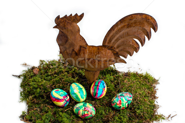 Easter Decoration: Painted Eggs and Rooster on Moss Stock photo © franky242