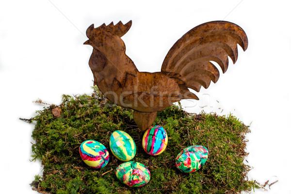 Pascua decoración pintado huevos gallo musgo Foto stock © franky242