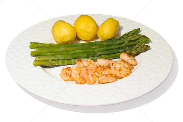 Espargos prato batatas isolado branco comida Foto stock © franky242
