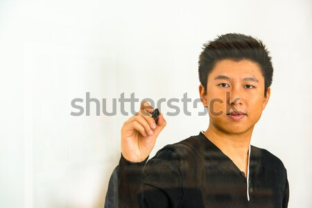 Photo stock: écrit · verre · asian · Guy · noir · stylo