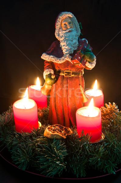 Natal advento coroa ardente velas papai noel Foto stock © franky242