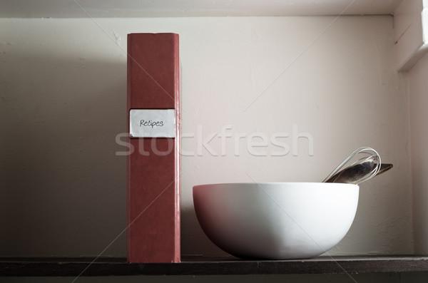 рецепт файла чаши шельфа Сток-фото © frannyanne
