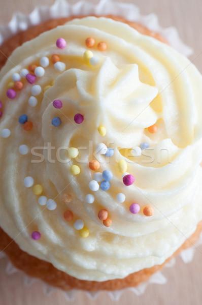 Dekoriert Cupcake Makro Buttercreme Vereisung Stock foto © frannyanne