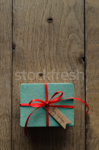 Turquoise Gift Box with Red Ribbon and Vintage Style Christmas T Stock photo © frannyanne