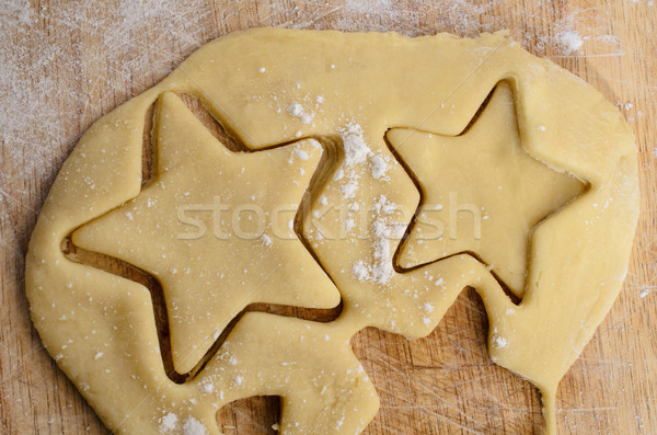 Rolled Biscuit Dough with Star Shapes Cut Out Stock photo © frannyanne
