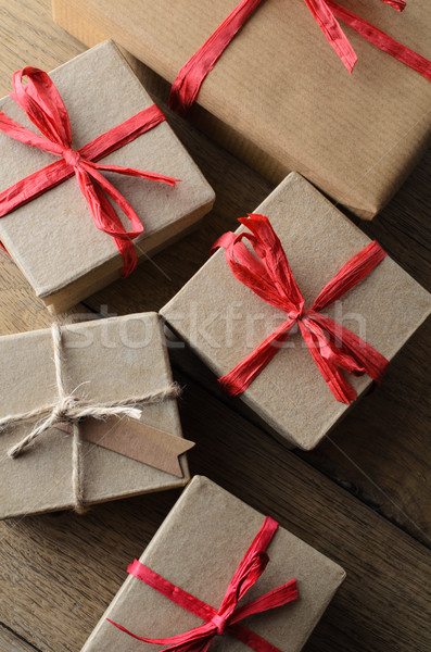 Group of Gift Boxes Tied with String and Ribbon from Above Stock photo © frannyanne