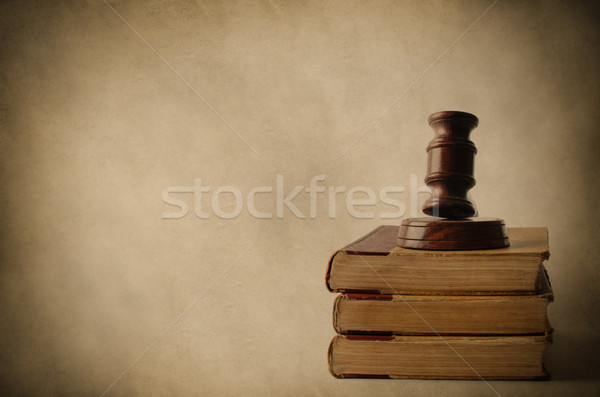 Stock photo: Wooden Gavel on Top of Old Books