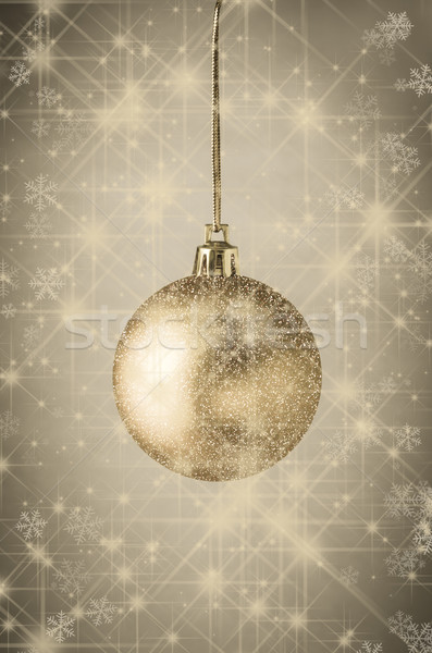 Sparkling Gold Christmas Bauble with Stars Stock photo © frannyanne