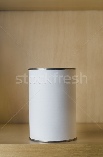One Tin with Blank Label on Shelf in Food Cupboard Stock photo © frannyanne