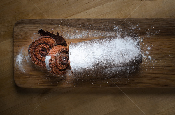 Chocolate Christmas Yule Log from Above Stock photo © frannyanne