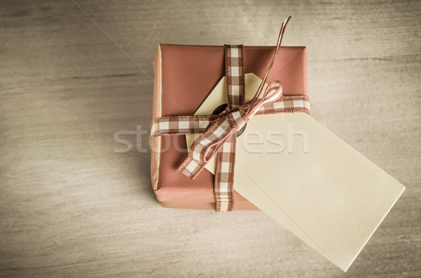 Giftbox with Label Overhead Stock photo © frannyanne