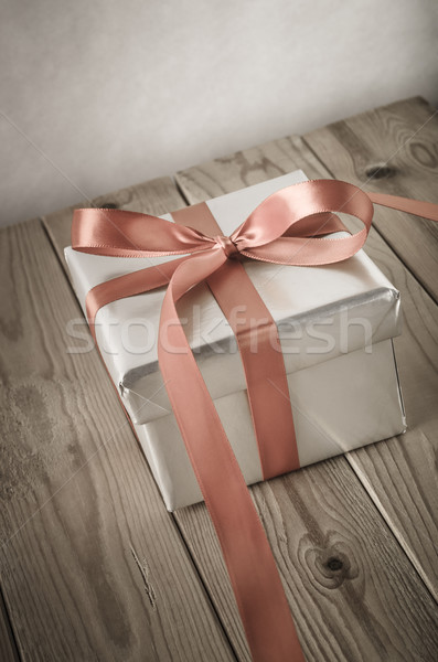 Silver Gift Box Angled with Vintage Effect Stock photo © frannyanne