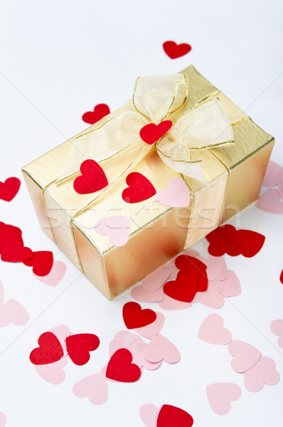 Valentine Hearts and Gift Box Stock photo © frannyanne