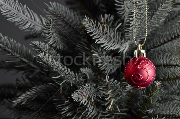 Karácsony csecsebecse fa piros díszített örvények Stock fotó © frannyanne