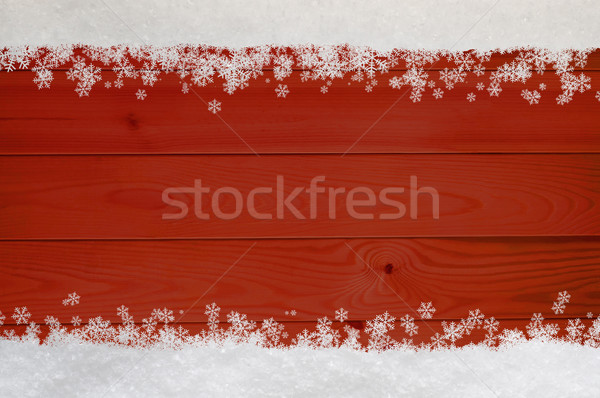 Stock photo: Christmas Snowflake Border on Red Wood