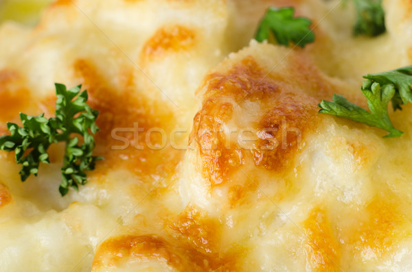 Cauliflower Cheese with Parsley Close Up  Stock photo © frannyanne