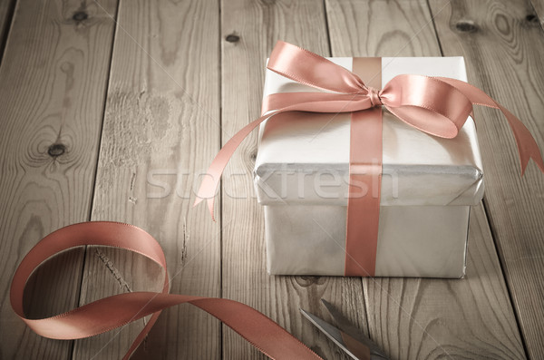 Wrapping of Gift Box with Vintage Effect Stock photo © frannyanne