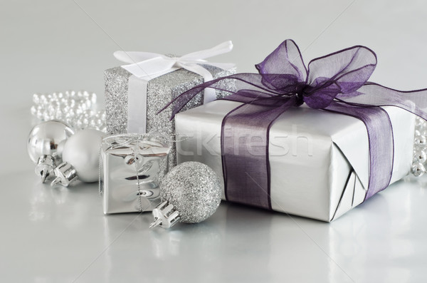 Christmas Gifts in Silver Stock photo © frannyanne