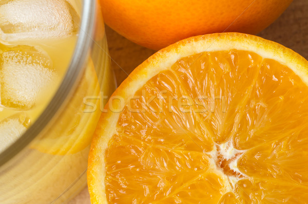Orange and Juice with Ice Overhead Stock photo © frannyanne
