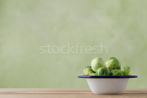Enamel Baking Pan Filled with Raw Brussel Sprouts Stock photo © frannyanne