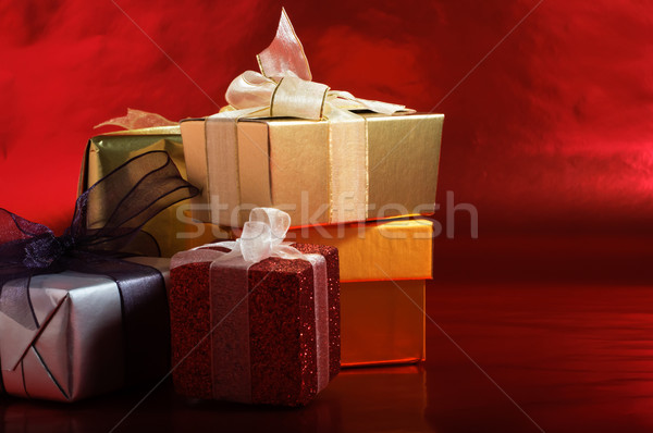 Christmas Gifts with Ribbons Stock photo © frannyanne