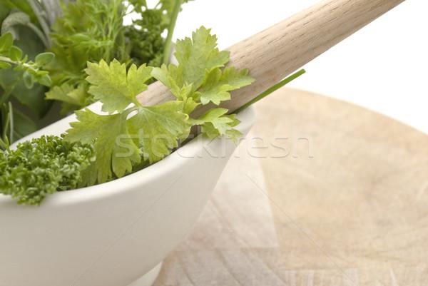 Herbs Mortar and Pestle - Lframe Stock photo © frannyanne
