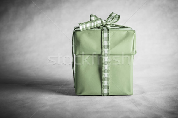 Green Gift Box Tied with Bow Stock photo © frannyanne