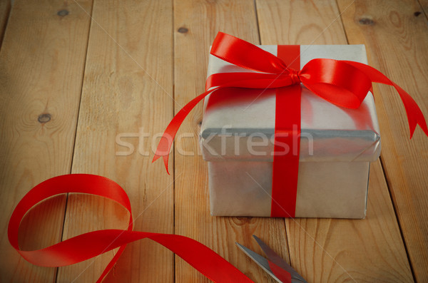 Gift Wrapped with Ribbon on Table Stock photo © frannyanne