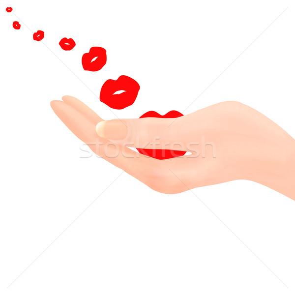 Main lèvre forme baiser Photo stock © frannyanne