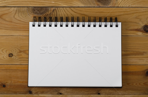 Blank Page Notebook on Wood Stock photo © frannyanne